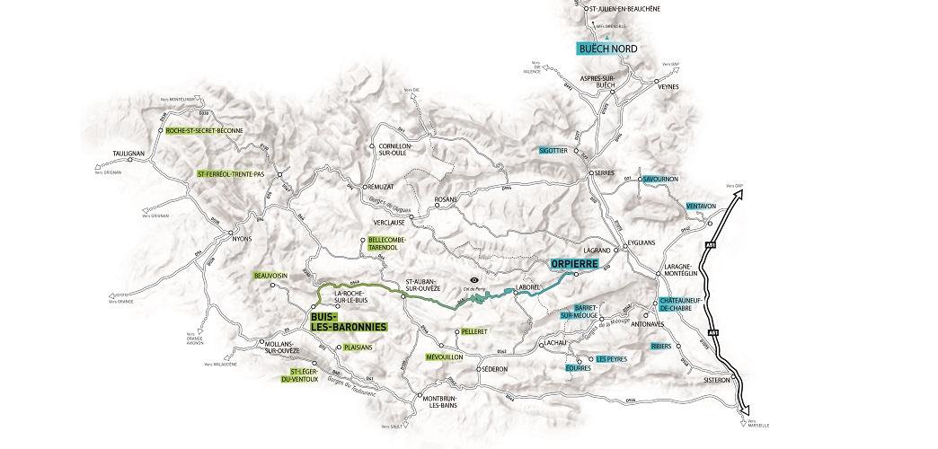 Carte des Baronnies Provençales